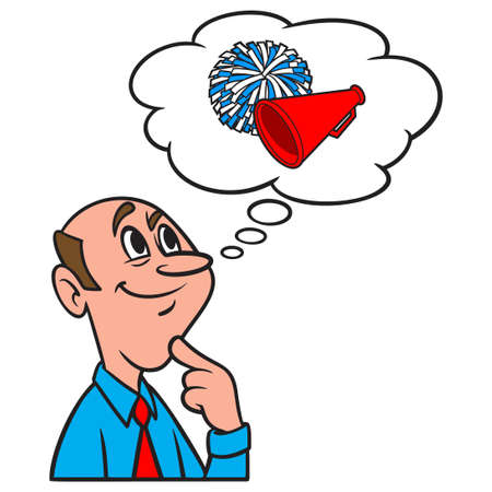 Thinking about Cheerleading - A cartoon illustration of a man thinking about Cheerleading.