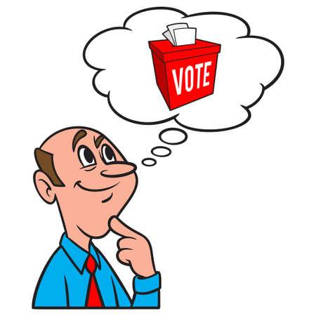 Thinking about the Ballot Box - A cartoon illustration of a man thinking about the Ballot Box.