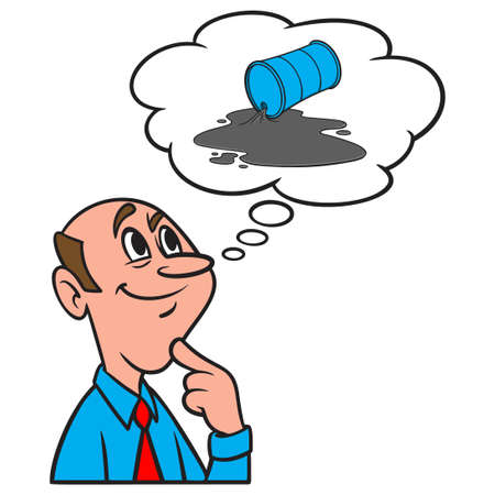 Thinking about an Oil Spill - A cartoon illustration of a man thinking about an Oil Spill. Иллюстрация