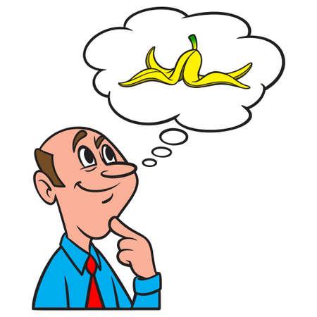 Thinking about a Banana Peel - A cartoon illustration of a man thinking about a Banana Peel. Иллюстрация