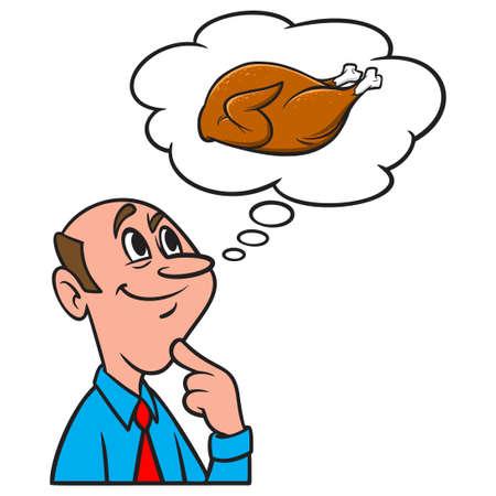 Thinking about a Roasted Turkey - A cartoon illustration of a man thinking about thinking about a Roasted Turkey. Иллюстрация