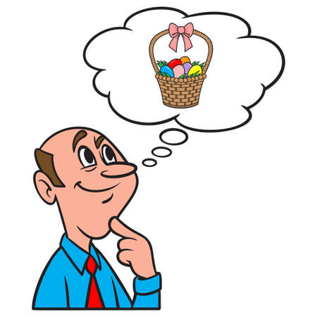 Thinking about an Easter Basket - A cartoon illustration of a man thinking about an Easter Basket for the Kids.