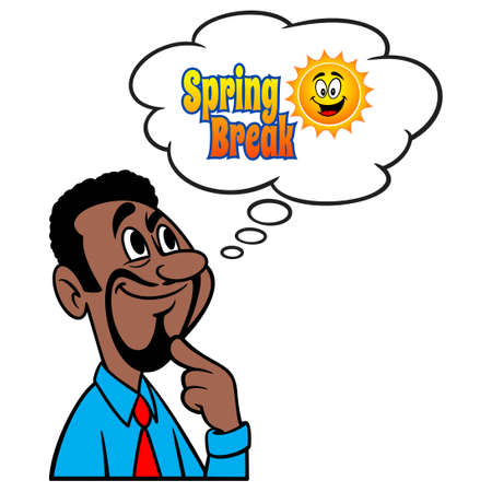 Man thinking about Spring Break - A cartoon illustration of a man thinking about a Spring Break Trip.