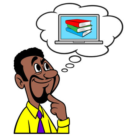 Man thinking about Online Education - A cartoon illustration of a man thinking about an Online Education.