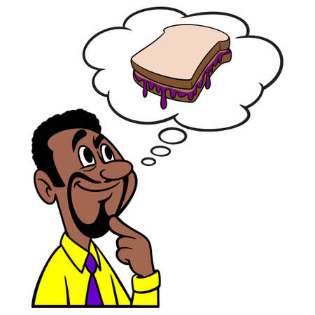 Man thinking about a Peanut Butter and Jelly Sandwich - A cartoon illustration of a man thinking about a Peanut Butter and Jelly Sandwich.