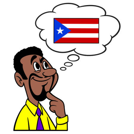 Man thinking about Puerto Rico - A cartoon illustration of a man thinking about Puerto Rico.
