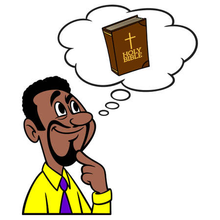 Man thinking about the Bible - A cartoon illustration of a man thinking about a Bible school class.
