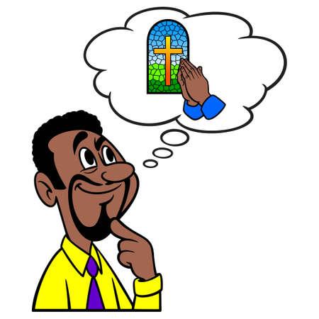 Man thinking about Church - A cartoon illustration of a man thinking about Church service.