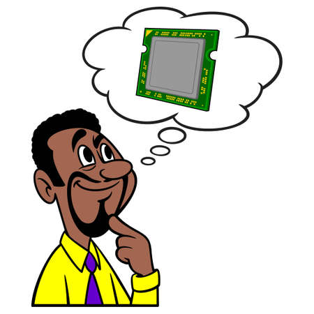 Man thinking about Computer Processors - A cartoon illustration of a man thinking about a new Computer Processor.