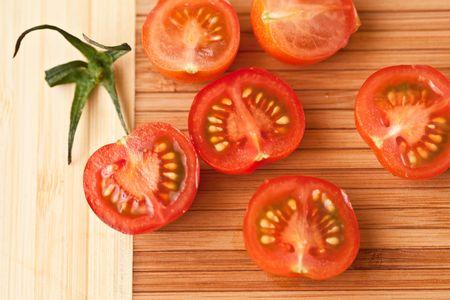 Half of cherry tomatoes Stock Photo - 6369098