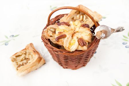 enriched: Basket with freshly homemade croissants Stock Photo