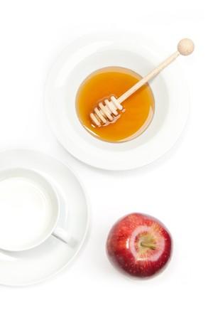 Breakfast with milk, honey and apple  photo