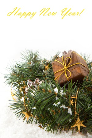 christmas wreaths: Christmas wreaths with golden stars on the white background