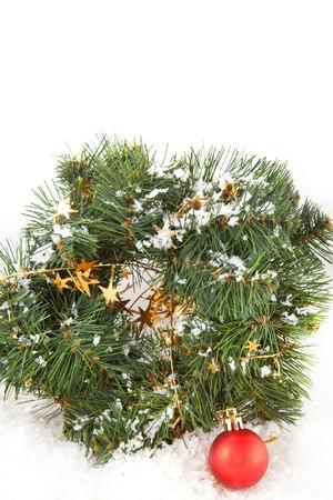 christmas wreaths: Christmas wreaths with christmas toys on the white background Stock Photo