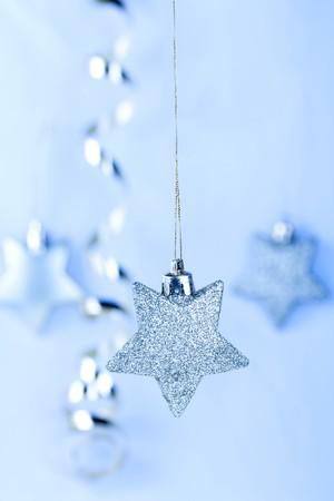 Cadeau kaart met blauwe Kerst sterren Stockfoto