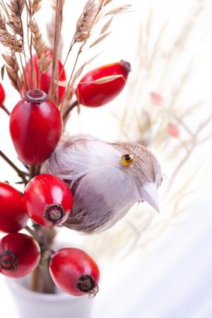 Bouquet of autumn berries and little bird photo