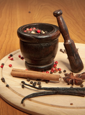Mix of the spices on the wooden desk with wooden mortar Stock Photo - 8357168