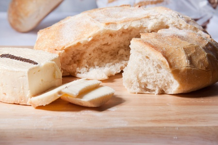 Fresh cooking bread with white cheese photo