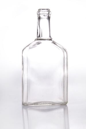 closed corks: Old fashioned glass bottle over white