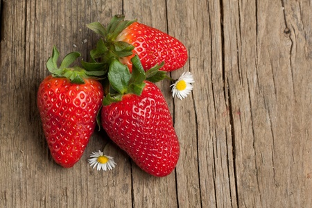 Three fresh strawberries with tow little white flowers on old wooden background