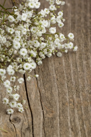古い木製テーブル上シュッコンカスミソウ赤ちゃんの息花の束