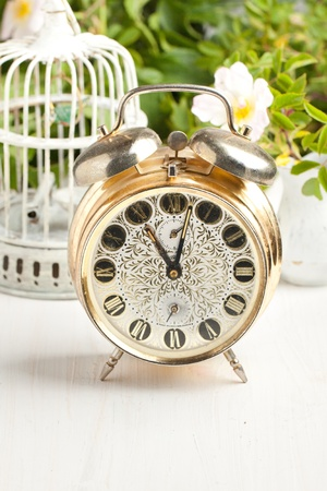 Old alarm-clock, vintage cage and wild rose on white table photo