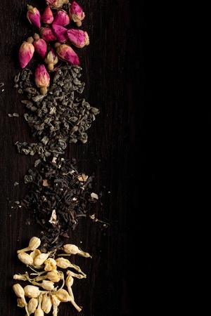 sencha: Background with dry tea variation on black