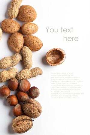 Assortimento di noci intere e tritate mandorla, nocciola, noce e arachidi su bianco con testo di esempio