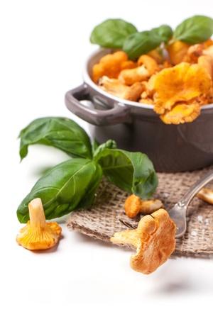 蘑菇雞油配上復古叉和羅勒在白色