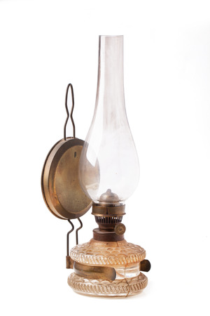 old vintage kerosene lamp isolated photo