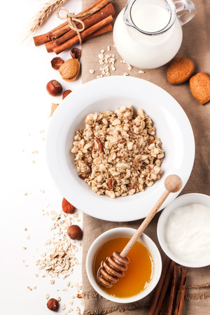 Top view on plate of muesli with milk, honey, cinnamon and nuts over white. See series