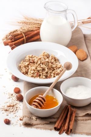 Plate of muesli with milk, honey, cinnamon and nuts over white. See series 版權商用圖片