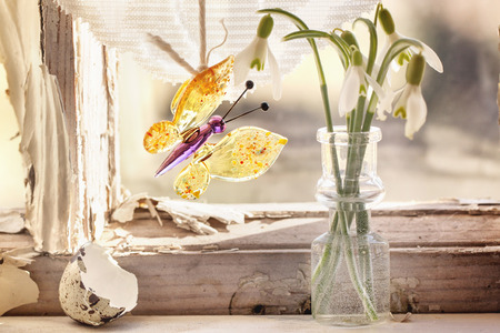 Fragment of interior on old windowsill with little glass vials, blossom snowdrops and glass butterfly.  photo