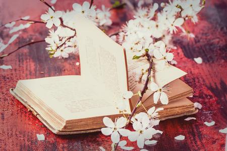 黒と赤の木製テーブルの上の桜の木の枝を花と開いたビンテージ本。