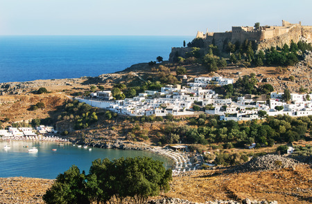 seaview: Seaview and Old Town Lindos in sunny day, Rhodes, Greece