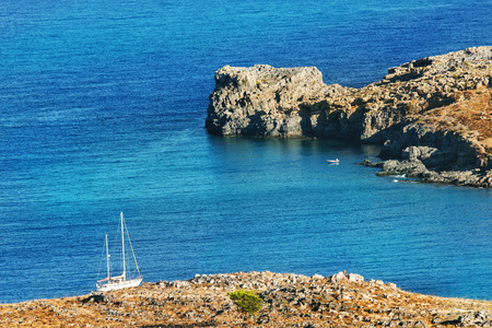 seaview: Seaview with yacht in sunny day, Rhodes, Greece