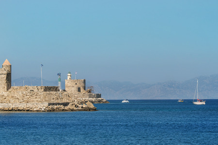 fortification: Fortification of old town Rhodes and seaview in sunny day, Rhodes, Greece