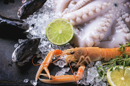 langoustine: Raw langoustine, mussels and octopus with lime and herbs, served on ice over black background