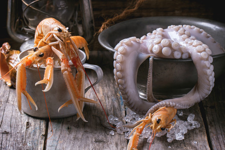 langoustine: Raw langoustine and octopus tentacles with ice on old wooden table
