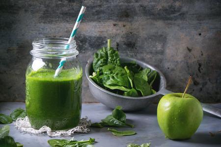 verduras verdes: Smoothie verde Foto de archivo