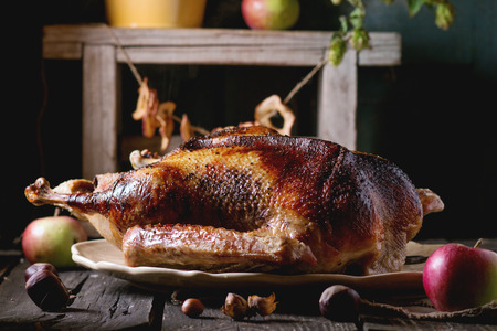 Roast stuffed goose on ceramic plate with ripe apples over wooden kitchen table. Dark rustic style.