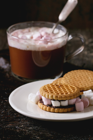 christmas paste: White Plate with Sugar Cookies stuffed by small marshmallows and chocolate paste over old wooden table with cup of hot chocolate at background. Dark rustic style.