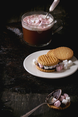 warm things: Glass cup of Hot chocolate with marshmallows, cookies stuffed by marshmallows, and chopping chocolate over old wooden table. Dark rustic style.