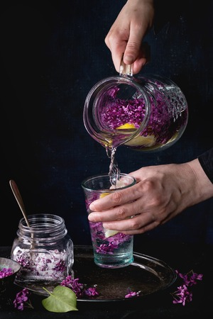 sugared: Femail hands poured from jug to glass lilac lemonade with lemon. Glass jar of sugared lilac flowers on black tablecloth over black. Dark rustic atmosphere. See series. Stock Photo