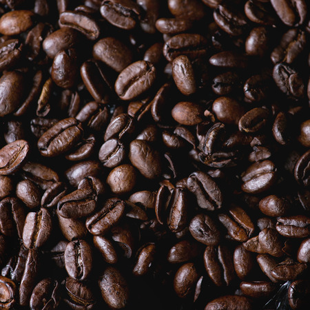 decaf: Food background with Green and brown decaf unroasted and black roasted coffee beans. Top view. Close up. Square image