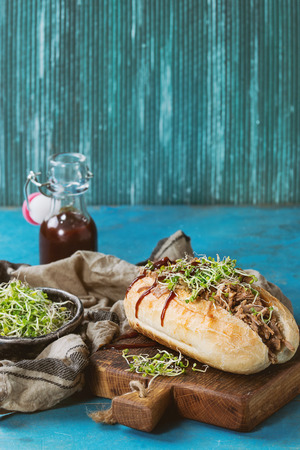 ketchup bottle: Pulled pork sandwich with meat, green sprouts and bbq ketchup, served on wood cutting board with small bottle of tomato sauce and bowl of greens over bright blue wooden background. Toned image