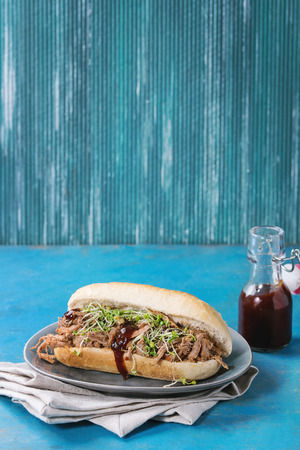 pulled over: Pulled pork sandwich with meat, green sprouts and bbq ketchup, served on gray plate and textile napkin with small bottle of tomato sauce and bowl of greens over bright blue wooden background. Stock Photo