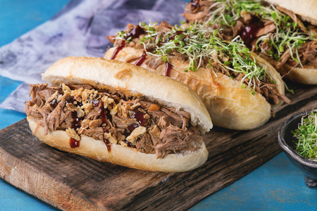 pulled over: Variety of pulled pork sandwiches with meat, fried onion, green sprouts and bbq ketchup, served on wood cutting board with bowl of greens over bright blue wooden background.