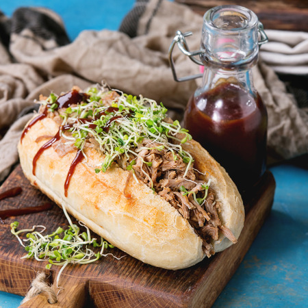 Variety of pulled pork sandwiches with meat, fried onion, green sprouts and bbq ketchup, served on wood cutting board with small bottle of tomato sauce over bright blue wooden background. Square image