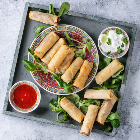Fried spring rolls with red and white sauces, served in china plate on square wood tray with fresh green salad over gray blue texture background. Stock fotó